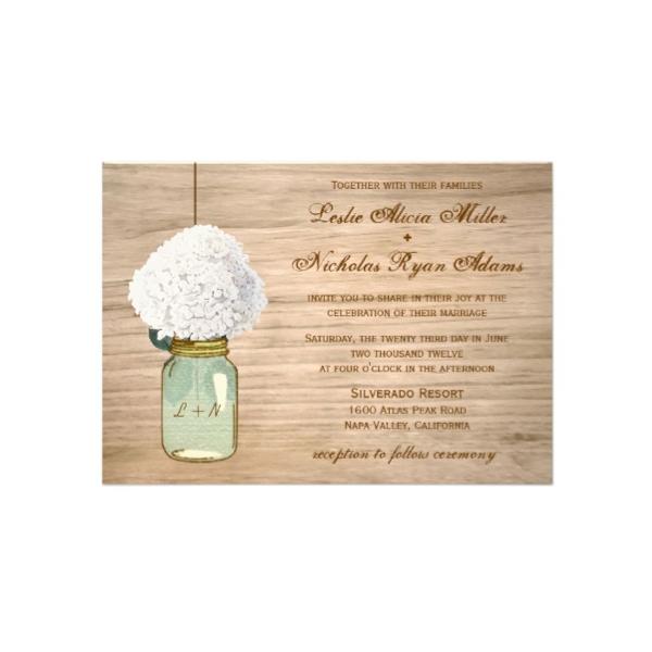 country rustic mason jar white hydrangea wedding invitation