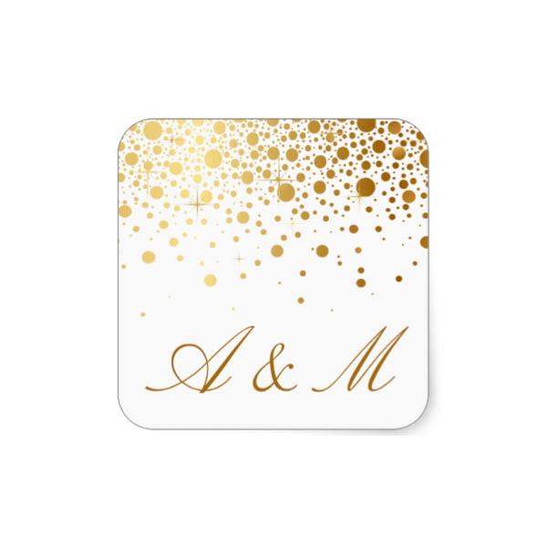 Faux Foil Confetti Gold And White Wedding Sticker