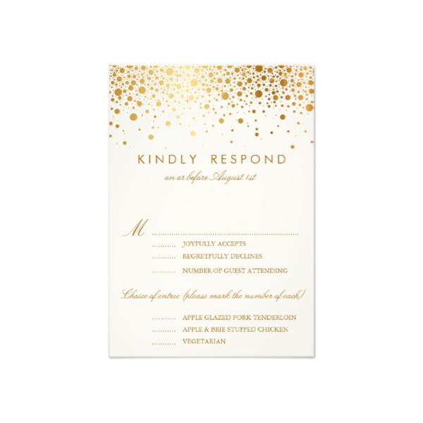 Faux Foil Confetti (Gold and White) Vertical RSVP Card - Luxury Wedding Invites