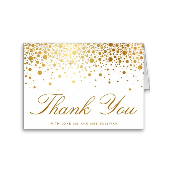 faux foil confetti gold and white thank you card luxury wedding