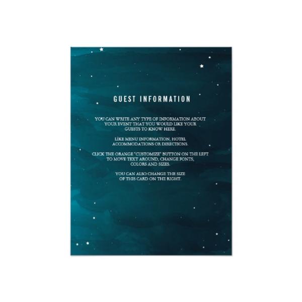 stargazer wedding insert card luxury wedding invites