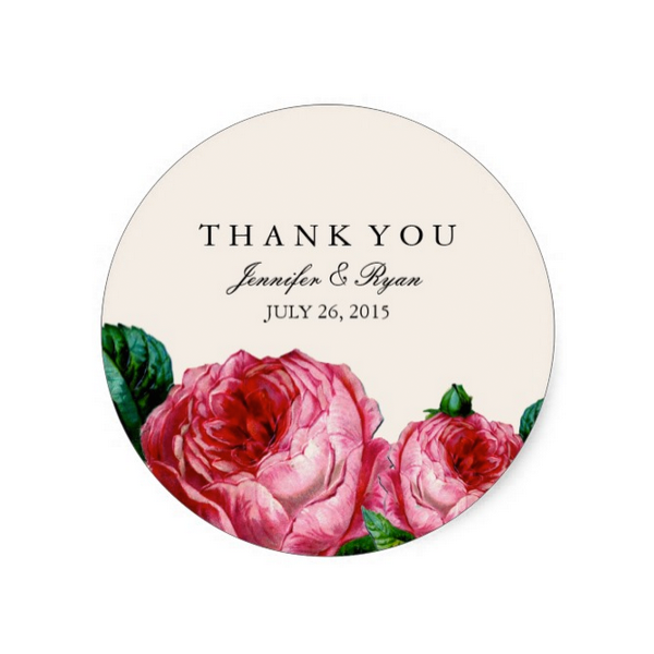 Vintage Rose Floral Wedding Thank You Sticker Luxury