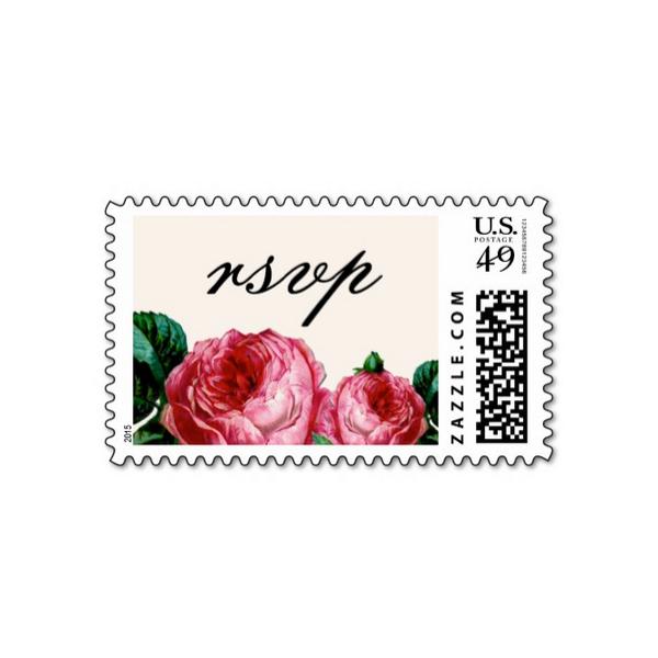 Vintage rose floral wedding rsvp postage luxury wedding for Wedding rsvp cards stamps