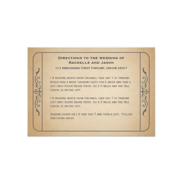 Vintage Ticket Wedding Directions Card