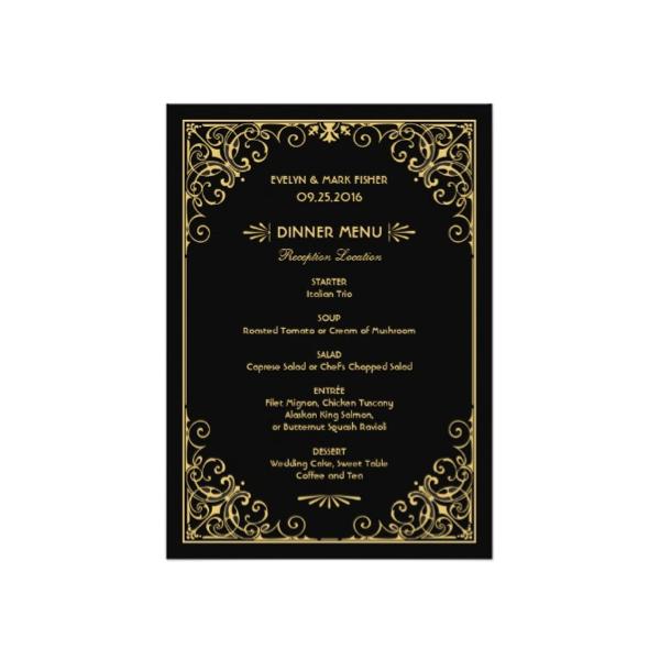 Art Deco Black Gold Wedding Menu Card Luxury Wedding