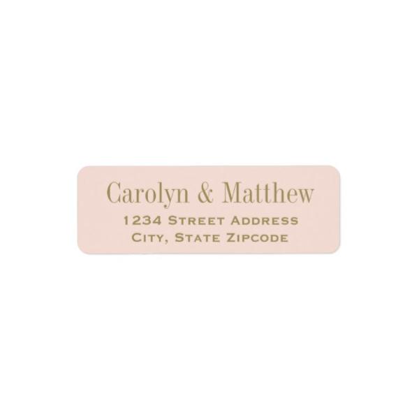 elegant flourish gold blush pink return address labels luxury