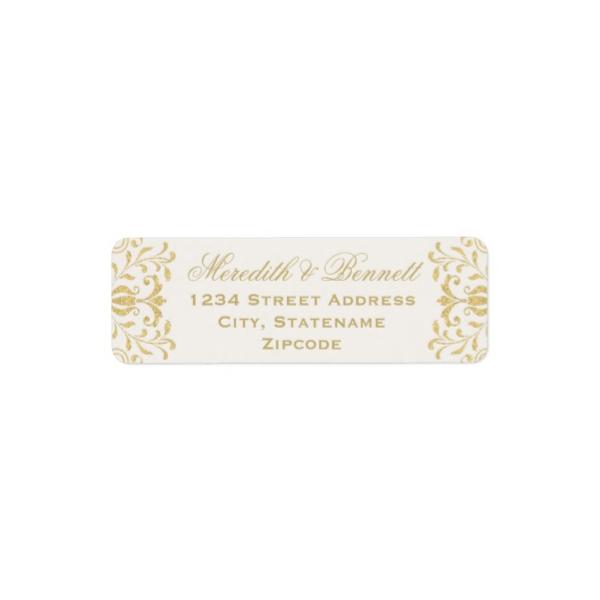 gold vintage glamor return address labels luxury wedding invites
