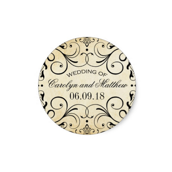 Elegant Flourish (Vintage Paper) Wedding Favor Stickers