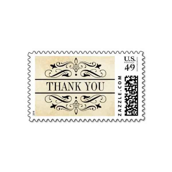 elegant flourish vintage paper wedding thank you stamp luxury