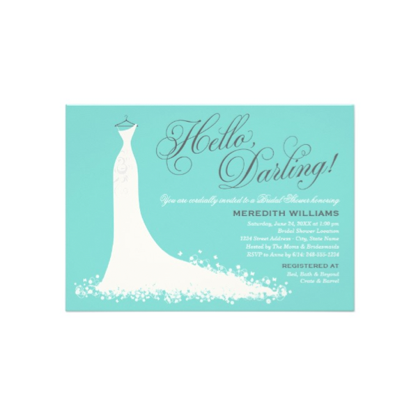 Bridal Gown Aqua Bridal Shower Invitation 2