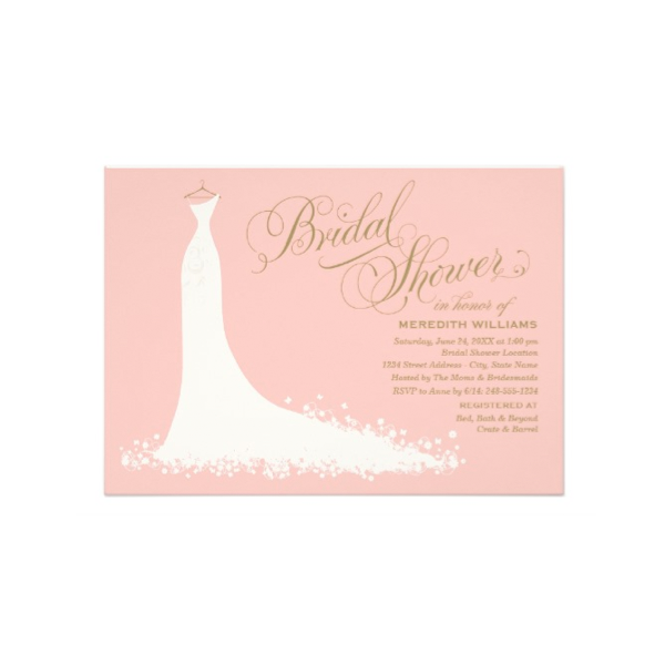 Bridal gown pink gold bridal shower invitation luxury for Pink gold wedding dress