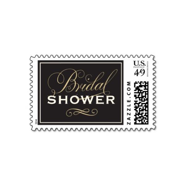 bridal gown black gold bridal shower stamp