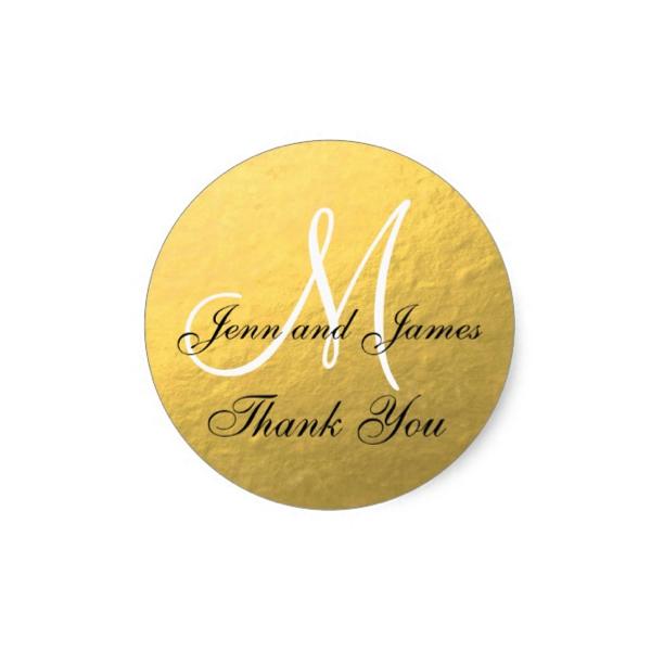 Elegant Monogram Faux Gold Foil Wedding Favor Sticker