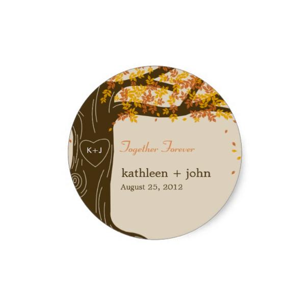 Oak Tree Orange Brown Wedding Favor Sticker Luxury Wedding Invites