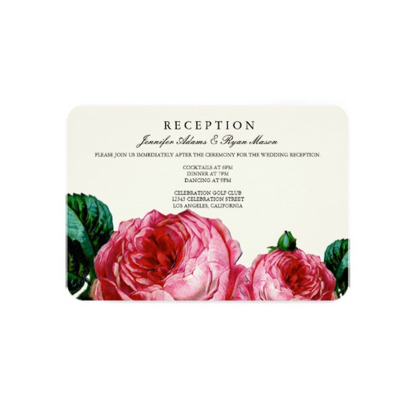 Vintage Rose Floral Wedding Reception Card Luxury Wedding Invites