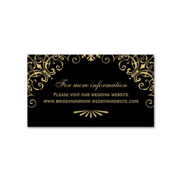 Super Art Deco (Black Gold) Wedding Website Cards - Luxury Wedding Invites DZ12