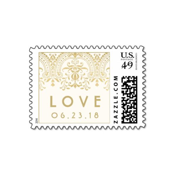 Gold Vintage Glamor Love Wedding Stamp