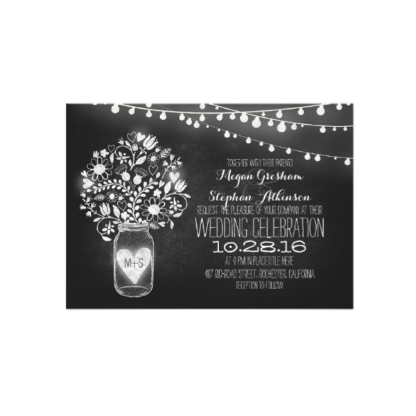 mason jar string of lights chalkboard wedding invitation