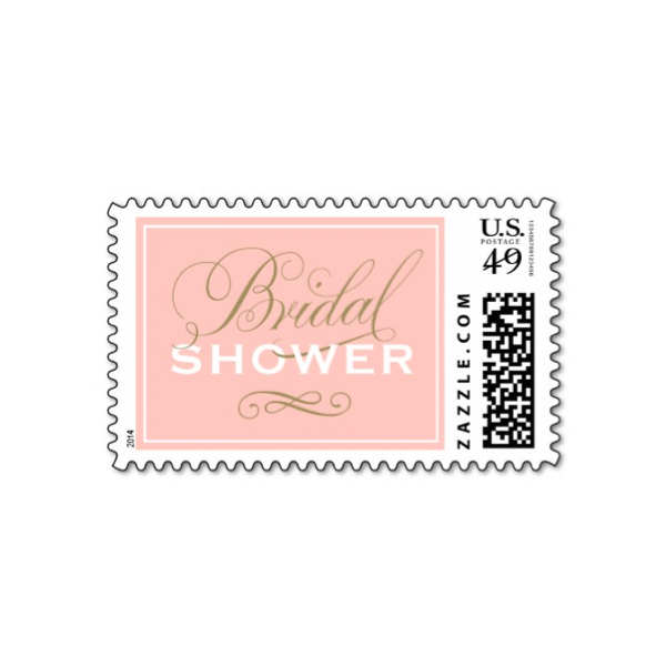 bridal gown pink gold bridal shower stamp